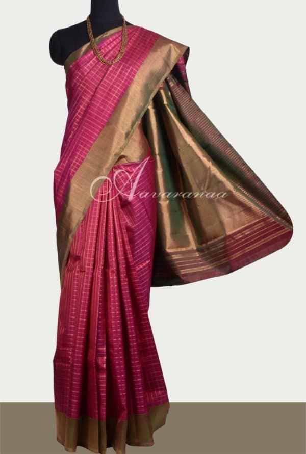 Pink with manthulir border kanchipuram silk saree -0