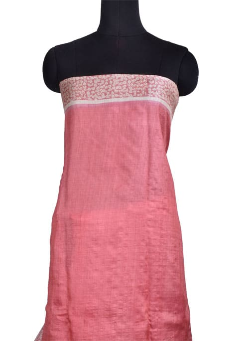 Pink and beige tussar saree with cutwork pallu -10726