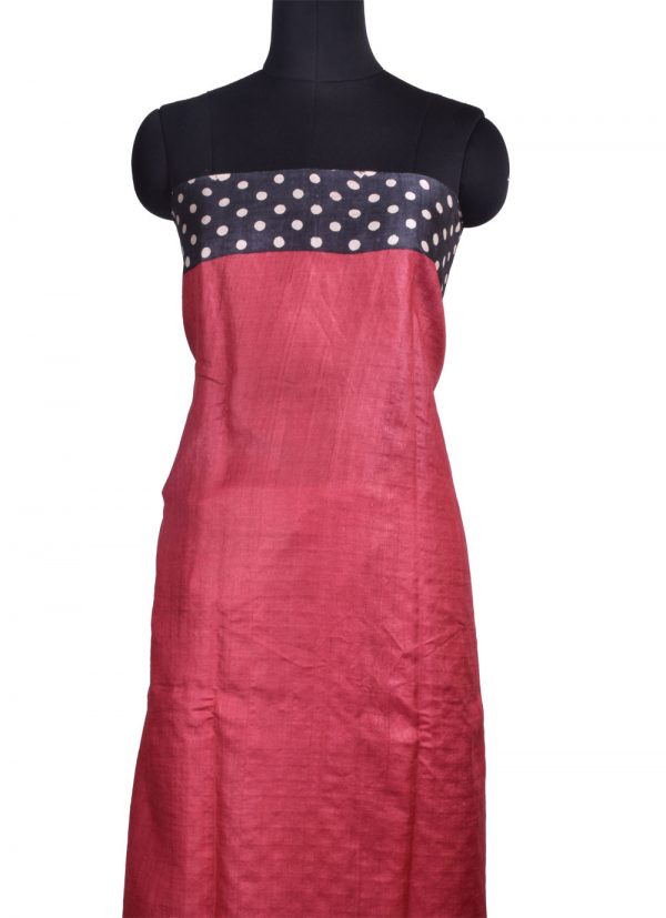 Black and red tussar saree with cutwork pallu -10724