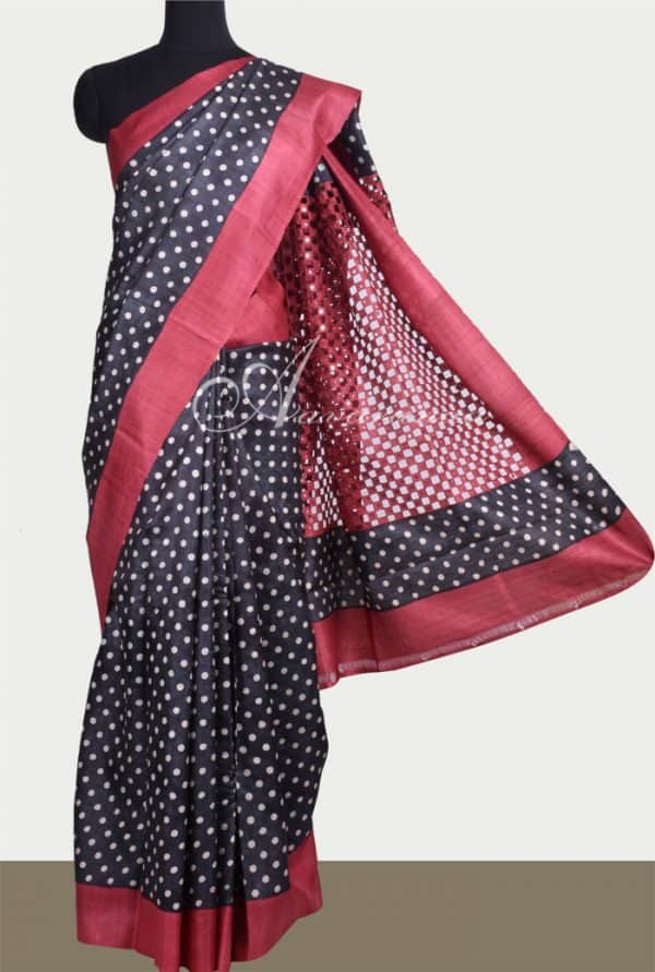 Black and red tussar saree with cutwork pallu -0