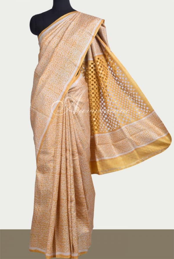 Beige and mustard hand block printed tussar saree with cutwork -0