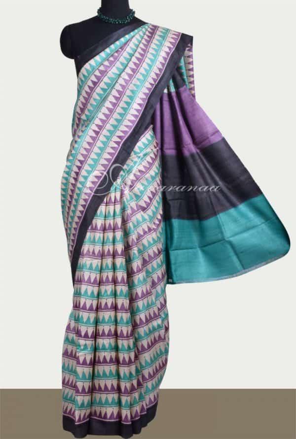 Purple blue printed tussar saree-0