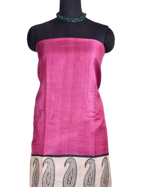 Pink and green rising border tussar saree -10791