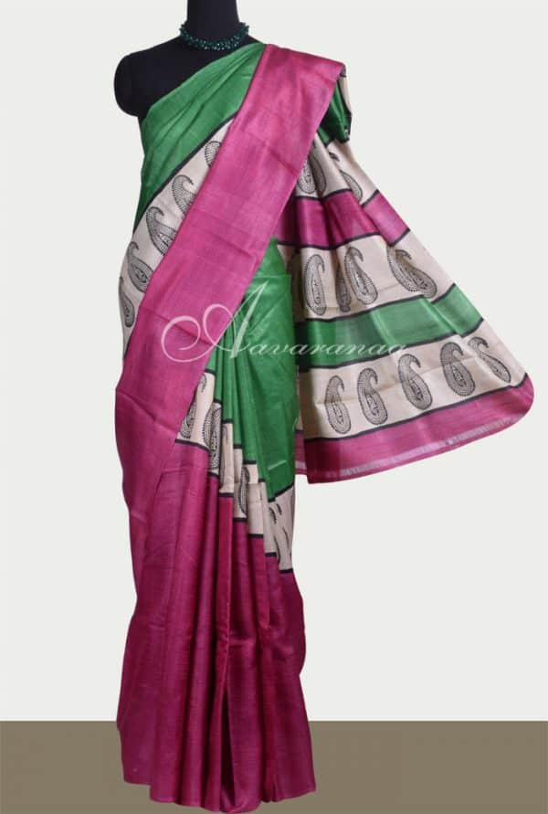 Pink and green rising border tussar saree -0
