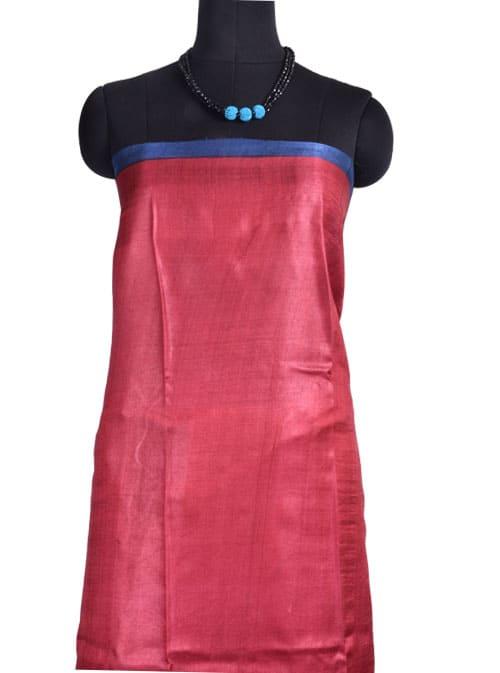 Beige Indigo blue printed tussar saree-10793