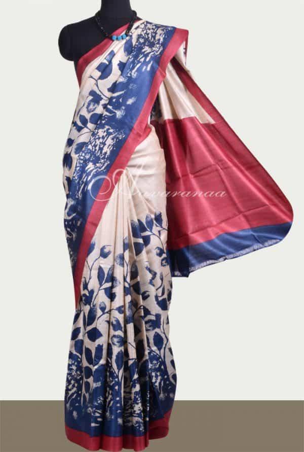 Beige Indigo blue printed tussar saree-0