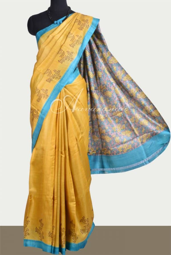 Mustard tussar saree with printed blouse-0