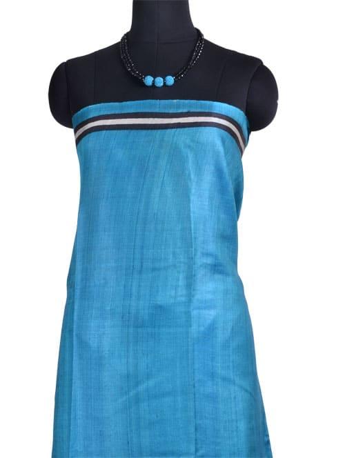 Black turquoise half half tussar saree-10800
