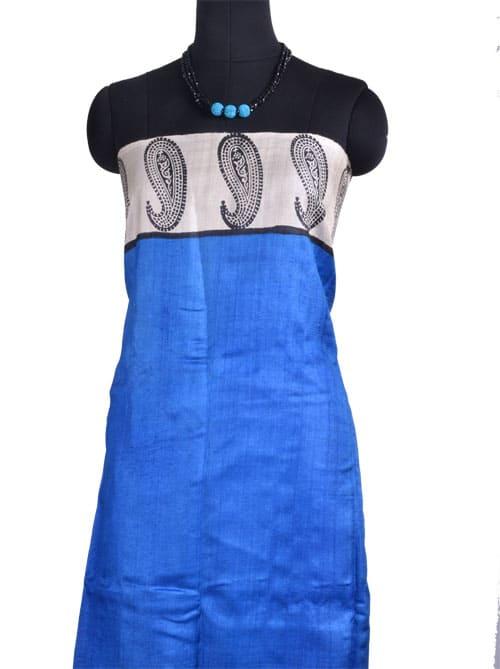 Mustard blue tussar block printed saree-10777