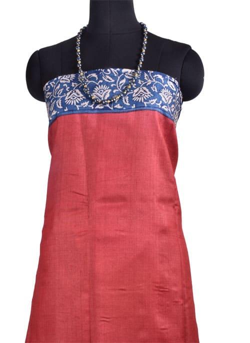 Blue and red block printed tussar saree-10815