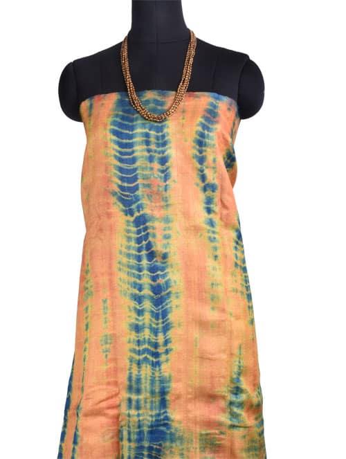 Peach and green tie n dye tussar saree-10821