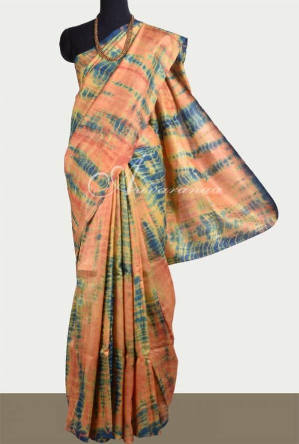 Peach and green tie n dye tussar saree-0