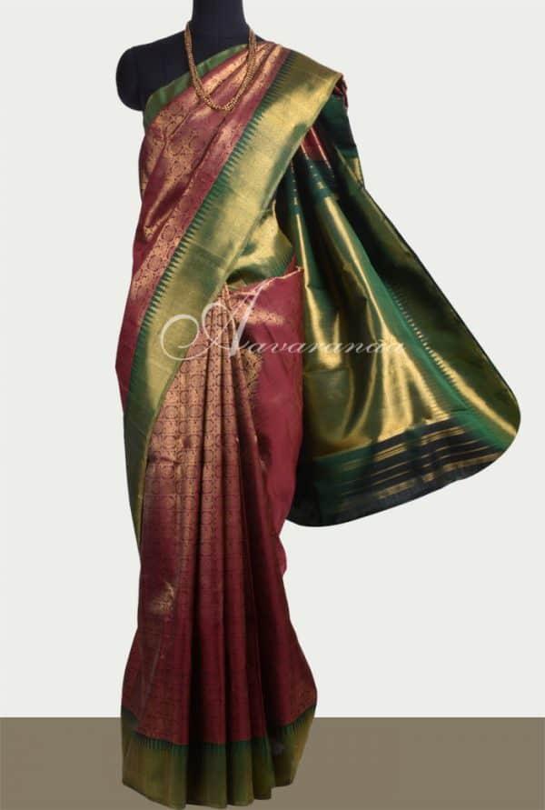 Maroon brocade kancheepuram silk saree-0