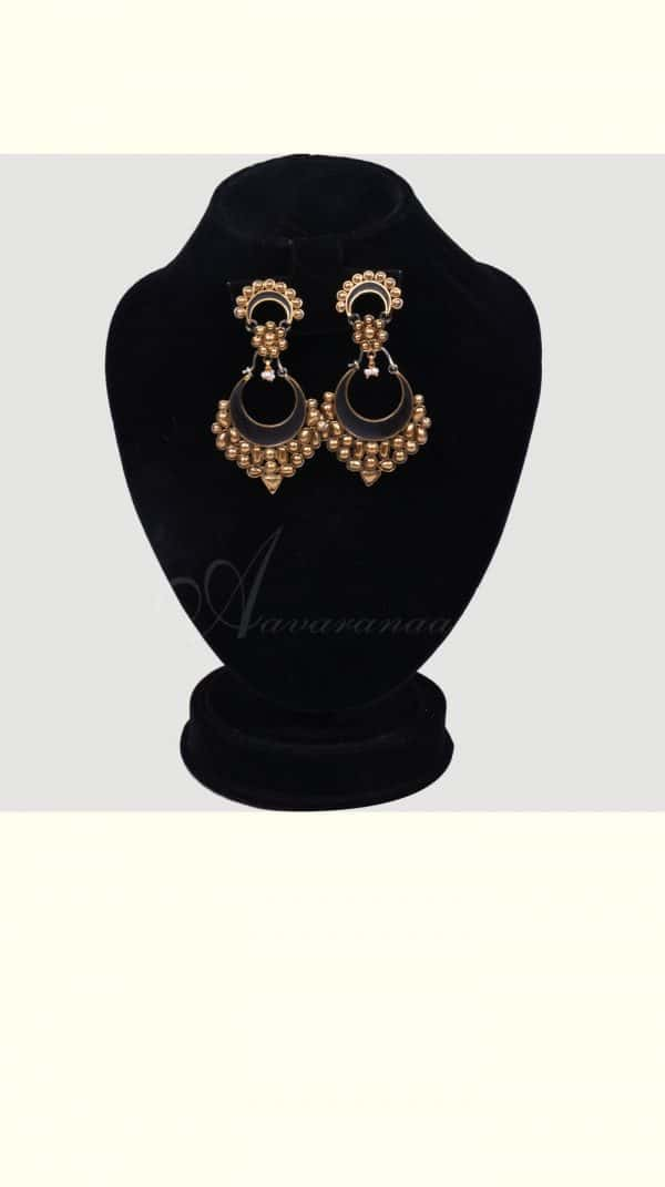 Black enamel chand bali earring silver -0