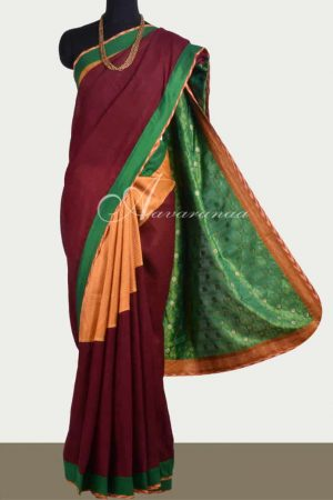 Maroon matka silk and mustard kanchipuram silk saree-0