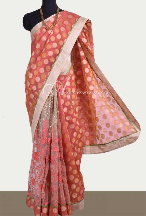 Half & half net saree -0