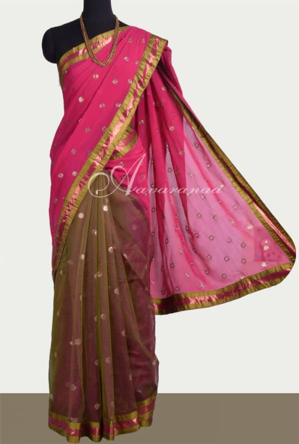 Georgette and net half half saree-0