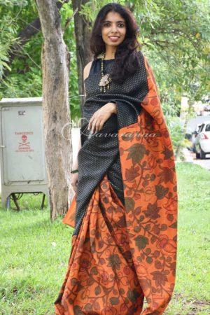 Black & Orange kalamkari silk saree-0