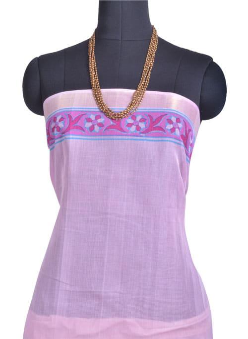 Pink block printed kanchi cotton saree -10889