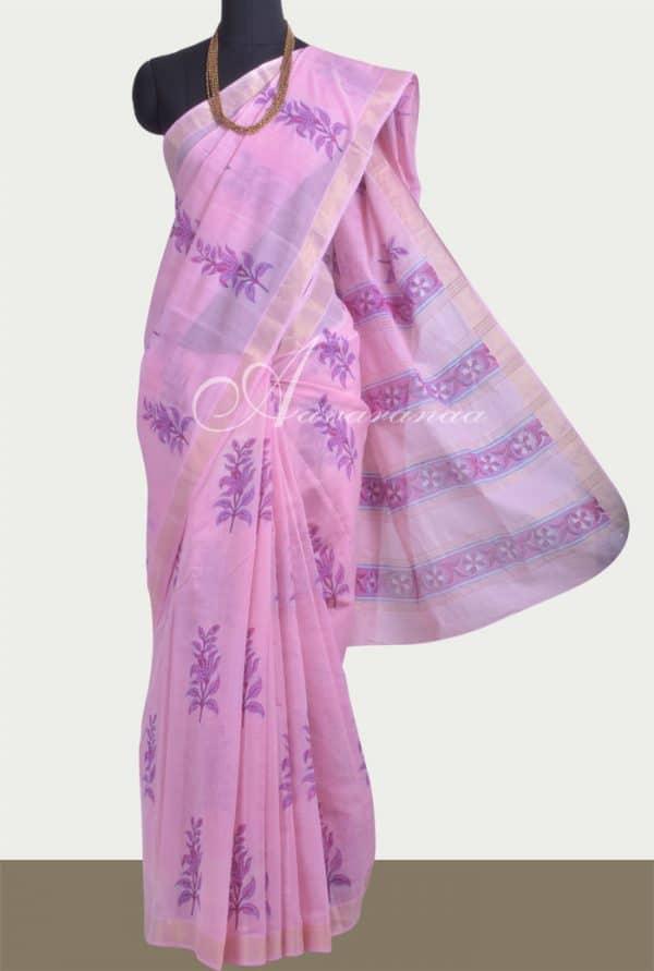 Pink block printed kanchi cotton saree -0
