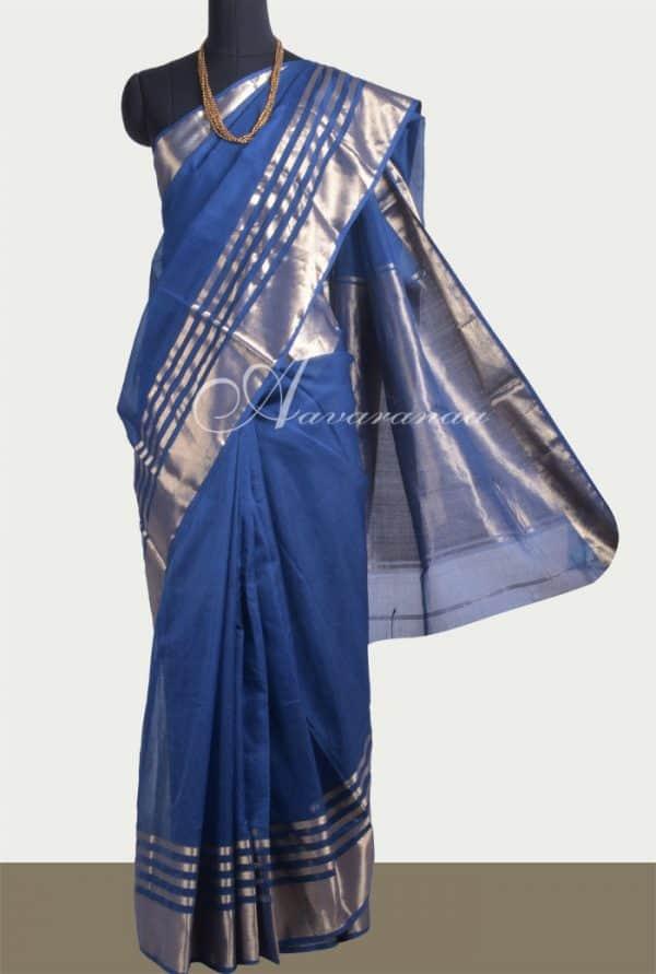Blue chanderi saree-0