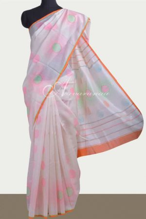 Off white chanderi saree -0