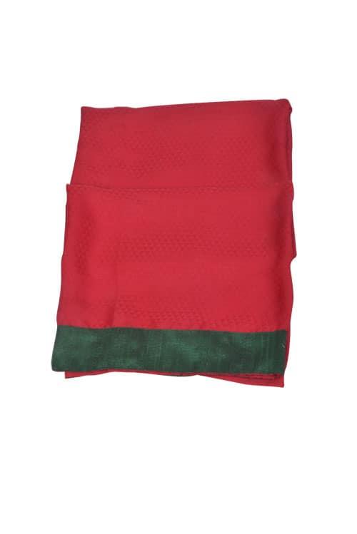 Red Semi crepe fusion saree-10922