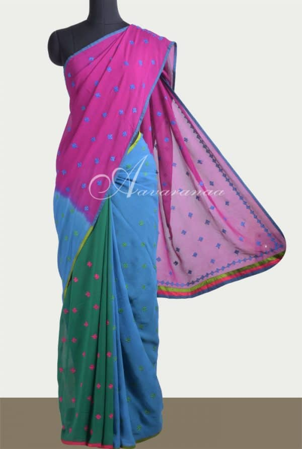 Shaded georgette saree -0