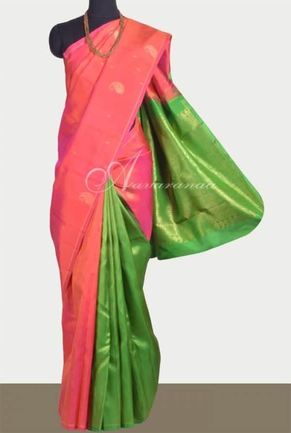 Peach and green partly pallu kanchipuram silk saree -0