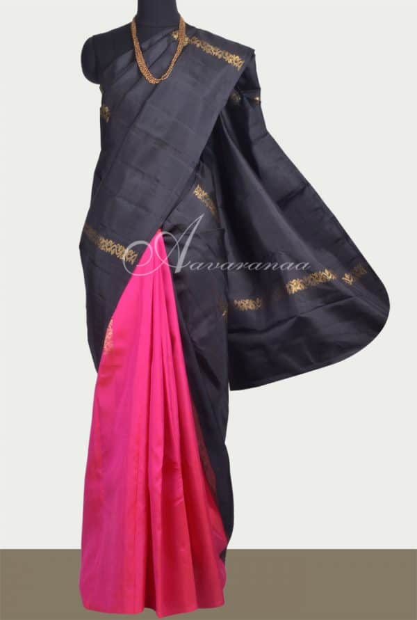 Black and pink 1/2&1/2 Kanchipuram silk saree -0