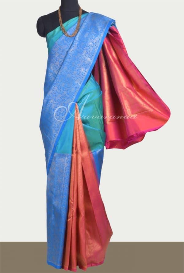Blue, green and peach 1/2&1/2 partly pallu kanchipuram silk saree -0