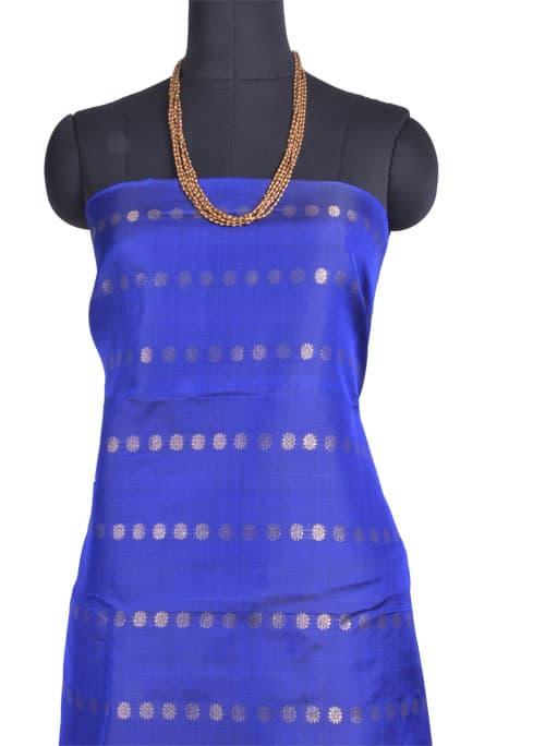 Green, pink and blue partly pallu kanchipuram silk saree -11011