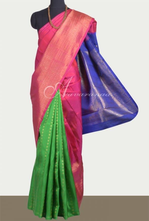 Green, pink and blue partly pallu kanchipuram silk saree -0