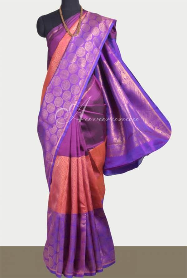 Violet, purple and peach mubagam kanchipuram silk saree-0