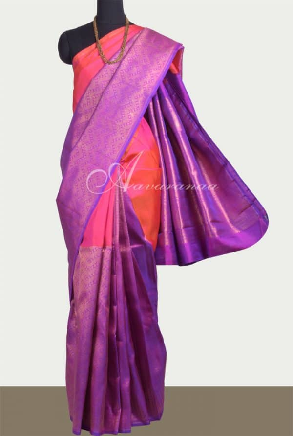Peach and purple 1/2 & 1/2 Kanchipuram silk saree -0