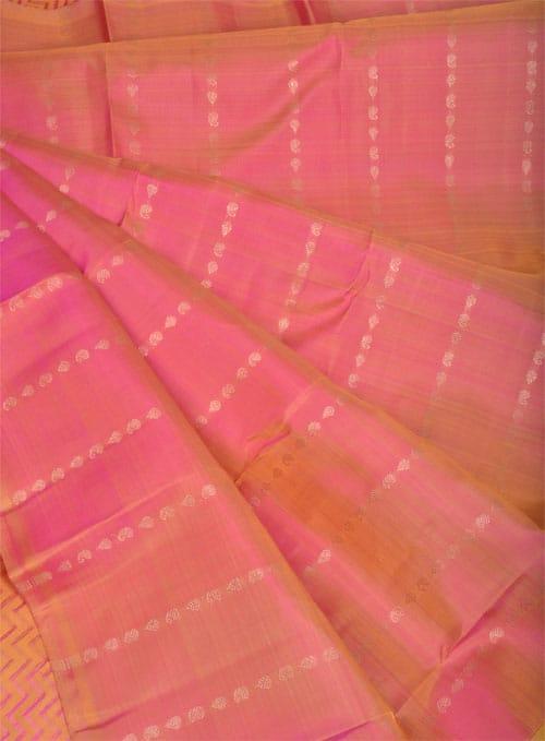 Mustard and peach silk saree -11027