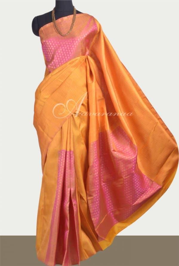 Mustard and peach silk saree -0