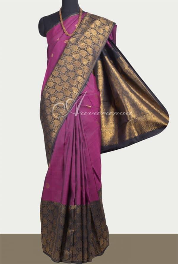 Violet kanchipuram silkk saree with one side black long border-0