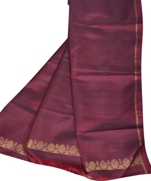 Black and maroon 1/2&1/2 kanchipuram silk saree-11031