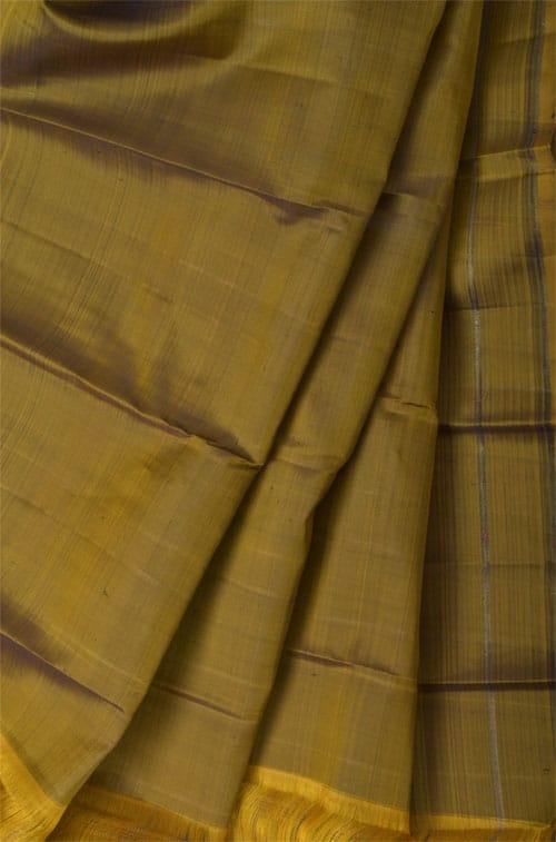 Rust and black checked kanchipuram silk saree-11039