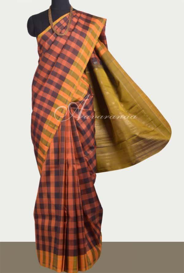Rust and black checked kanchipuram silk saree-0