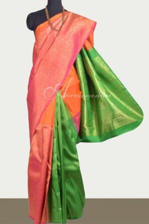 Orange, peach and green partly pallu kanchipuram silk saree-0