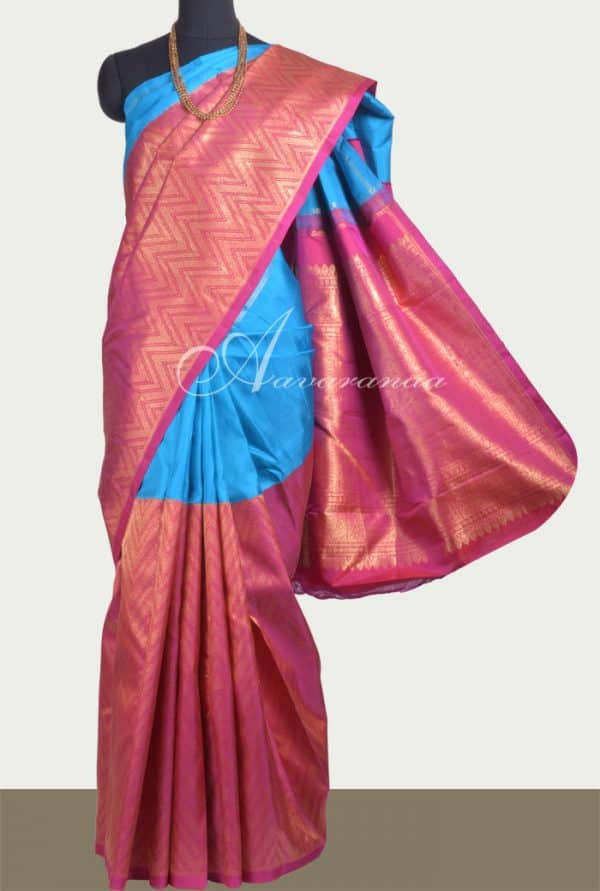 Blue and pink 1/2&1/2 kanchipuram silk saree -0