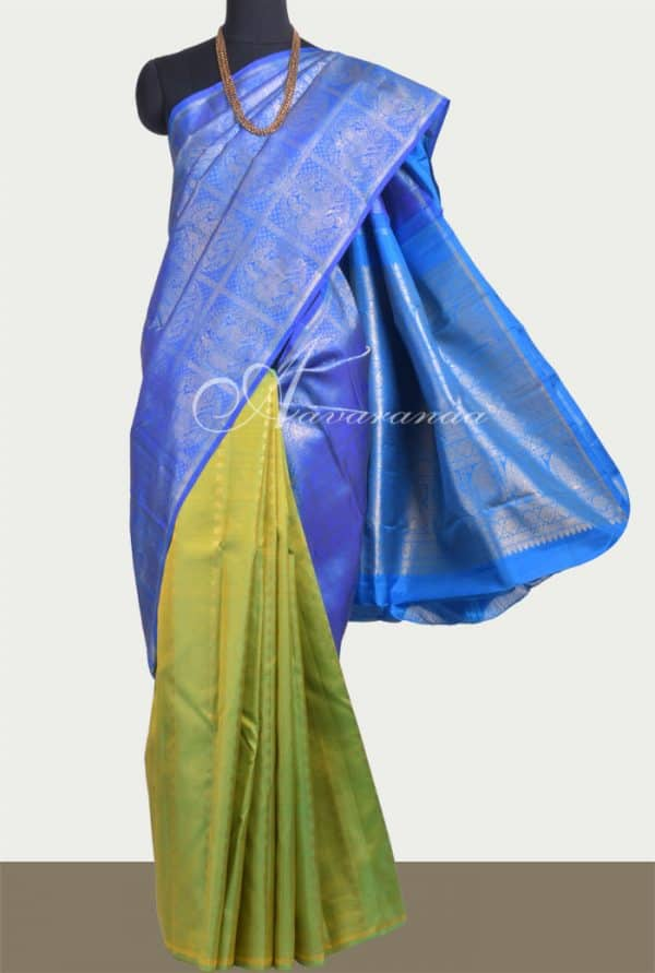 Blue and green 1/2&1/2 kanchipuram silk saree -0