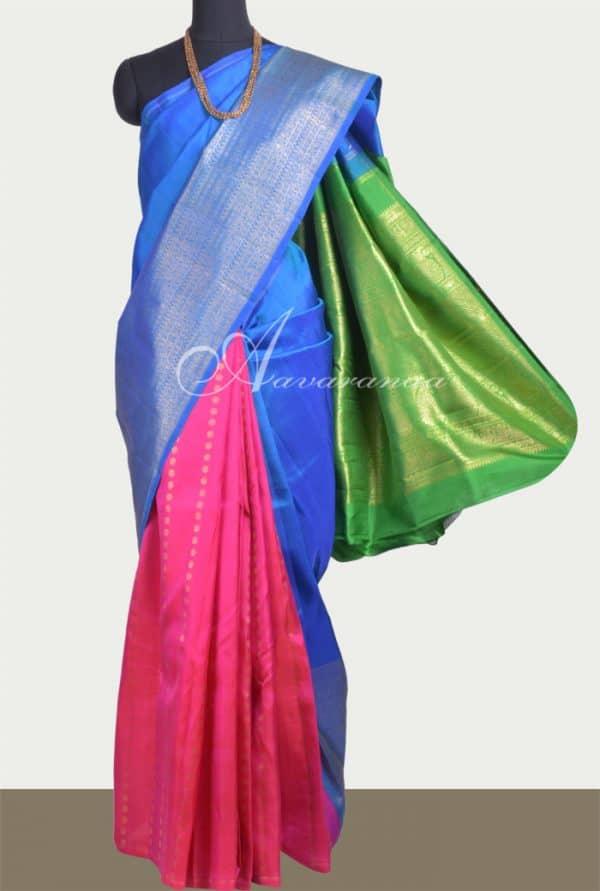 Pink, blue and green partly pallu kanchipuram silk saree-0