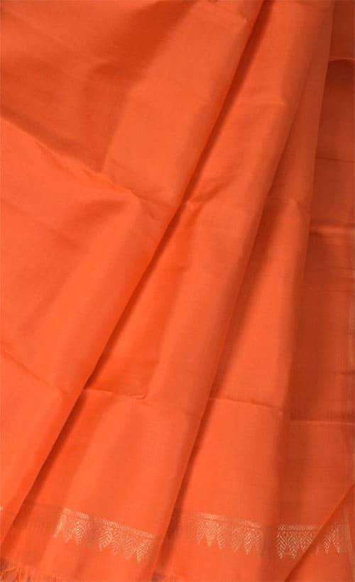 Green , blue and orange partly pallu kanchipuram silk saree-11001
