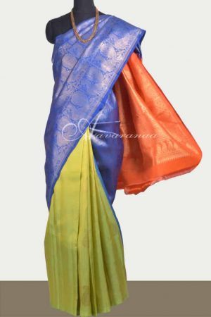Green , blue and orange partly pallu kanchipuram silk saree-0