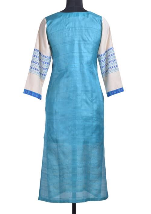 Beige blue printed tussar kurta-11195