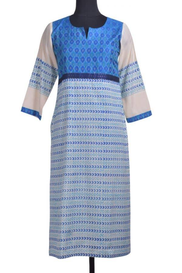Beige blue printed tussar kurta-0