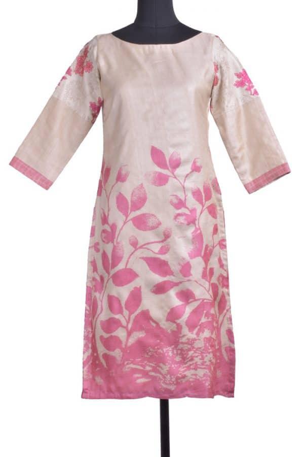 Beige pink block printed tussar kurta-0